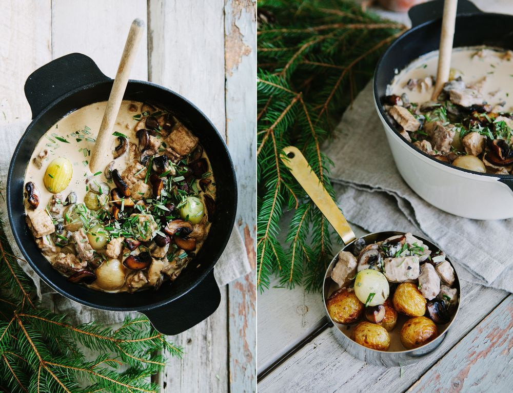 CREAMY VEG STEW WITH RED WINE AND MUSHROOM: