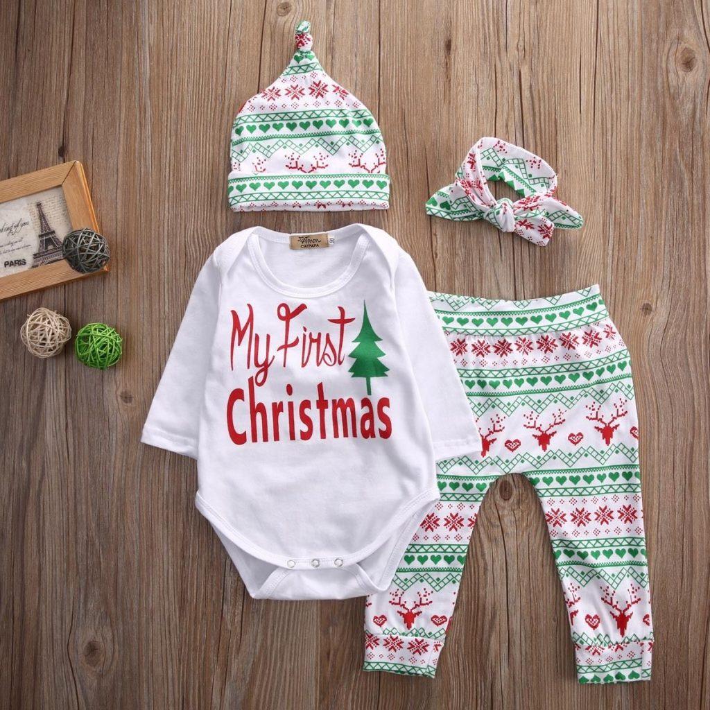 Set Baby Infant Girls Bodysuit Romper Christmas Pants Tutu Dress Clothes Outfits