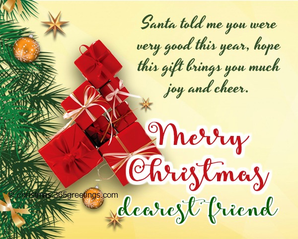 customized greeting for close friend christmas